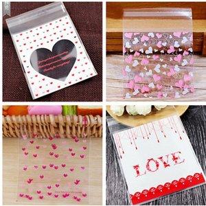 50pcs / Lot 10 * 10cm Amor Coração Padrão auto-adesivo saco de cozimento sacos de embalagem para Wedding Party Snack Biscuit Bag Suprimentos NZUd #