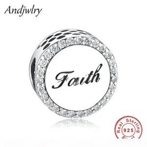Fit Original Pandora Charm Bracelet Authentic 925 Sterling Silver Cross Letter Faith CZ Crystal Bead For Jewelry Making Berloque