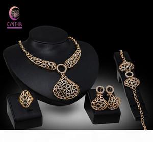 Fashion african bridal Wedding costume 18K Gold plated Crystal Rhinestone statement Women Statement Necklace Bracelet Ring Jewelry sets
