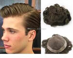 Livraison Gratuite Ash Brown Color Color Toupee pour Hommes Full French Dentelle Perruque Pour Hommes Pinces Cheveux De Cheveux Humains Brésiliens