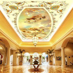 Custom europe angel ceilings 3d ceiling murals wallpaper 3d murals wallpaper for living room