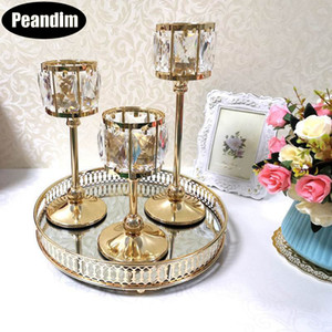 PEANDIM Wedding Gold Candle Holders Table Centerpieces Candelabra Party Candlesticks Decoration Crystal Candle Lantern LJ201018