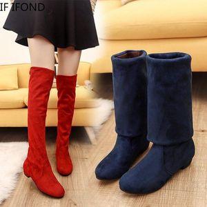 Если IFOND низкие каблуки на сапоги колена женщин сексуальные бедро высокие клинья обувь дамы осень зима красные длинные ботинки1