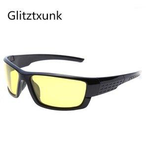 Glitztxunk поляризованные солнцезащитные очки мужские ночные зрение ночь спортивные солнцезащитные очки дизайнер бренда вождение усиленный светлый антибликовый UV4001