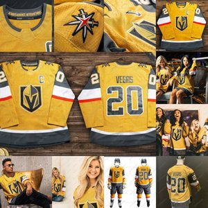 Marc-Andre Fleury Mark Stone William Karlsson Ryan reaves Jonathan Marchessault Alex Pietrangelo 2020 Vegas Golden Knights Gold Tercer Jersey