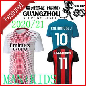 20 21 AC Tranth Away Soccer Jersey Milano 2020 2021 # 11 Ibrahimovic Paqueta Bennacer Rebic Romagnoli Tonali Men + Bambini Camicia da calcio Bianco