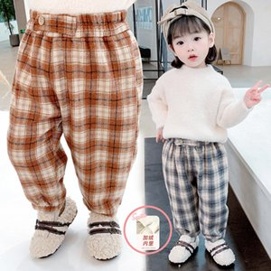 Autumn and Winter Clothes, Western Style Pants, Children's Harem 2020, New Girls' Thickened Plaid Plush Pants