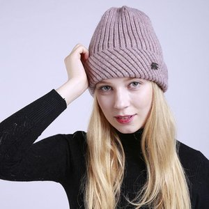 Winter Pure Color Striped with Fleece Lining Warm Men and Women round Hat 2018 New Knitted Wool Curling Pullover Cap