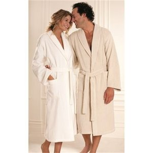 High Quality Natural Unisex Bathrobe Pure Soft Organic Cotton S M L XL Home Suit Bath Towel Bathrobe Women Men 201109