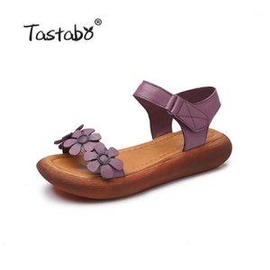 Tastabo En Cuir Véritable Gladiator Sandales 2020 Mode Basse Coins Fleur Summer Shoe Sandal Plate-forme Sandale Red Gris Chaussures Femmes1