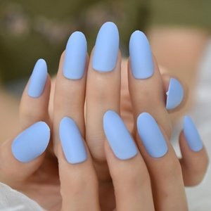 24pcs Oval Fake Nails Matte Blue Frosted Press On Medium Long False Nails Faux Ongles Full Tips Finger Easy Wear