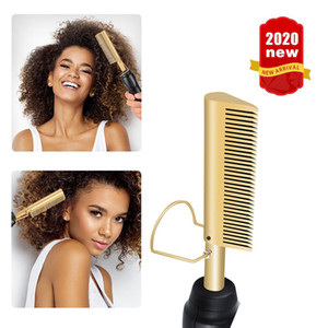 Heating Comb Gold Hair Straightener Multifunctional 2 in 1 Electric Flat Irons Straightening Brush Hot Comb Wet and Dry Hair