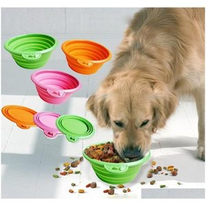 Collapsible Foldable Silicone Dog Bowl Candy Color Outdoor Travel Portable Puppy Doogie Food Container Feeder Dish Gftmc