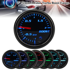 Jauge de voiture 2Inch 52mm Turbo Mécanique Boost Boost Press Press Mètre -12 Bar 7 Couleur LED Noir LEN 12V