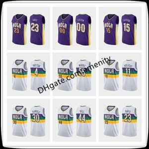 custom men New OrleansPelicans11 Holiday 23 Davis 21 Miller basketball jerseys Jrue Anthony Darius purple city jersey new08