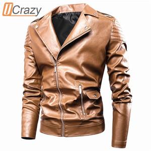 Ucrazy 2020 Sonbahar Yeni Casual Moto Ceket Kaban Moda Vintage Kıyafet Fermuar Sıkıntılı Sahte Deri ceketler Erkekler C1103