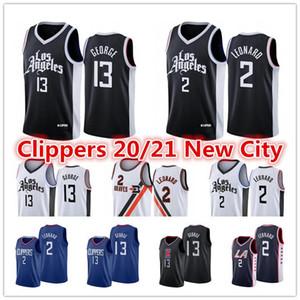 NCAA Men's Laclippers2021 Kawhi # 2 Jersey Leonard Paul 13 George Lou 23 Williams Blue City Black Edition كرة السلة الفانيلة