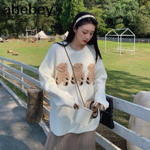 French Autumn Cartoon three cubs cute loose pullovers sweater female long sleeve knitting sweater women coat 201017