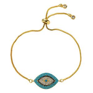Турецкий злой глаз браслет Pave CZ CZ Cubic Zircon Blue Gree Gold Color Chare Braclets Регулируемые женские вечеринка браслет ювелирные изделия подарок 150 м2
