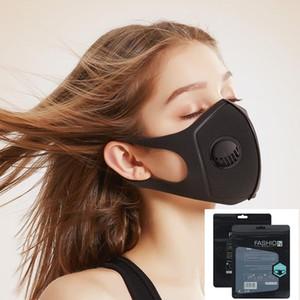US-Stock-Sponge-Maske mit Ventil Waschbar wiederverwendbaren Gesichtsmasken High Fashion Gesichtsmaske Desinger Anti Pollution Anti-Staub-Mund-Maske Luftfilter