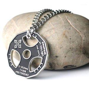 Кулон ожерелья унисекс фитнес тренажерный зал гантели веса подъемные пластины штанги цепи оременьте ожерелье бодибилдинг ювелирные изделия1
