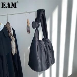 [EAM] Frauen Neue Krawatte Bogen Baumwolltasche Kordelzug Große Persönlichkeit Allgleiches Crossbody Umhängetasche Mode TIDE 2021 18A1305