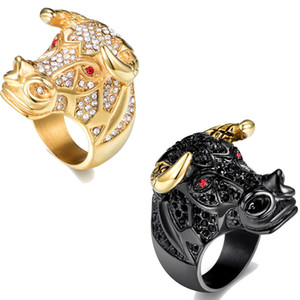 Hip Hop Bling Cow Head Cubic Zirconia Gold Color Ring Men Male Party Finger Jewelry