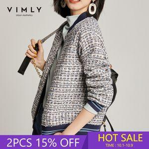 Vimly Короткая куртка для женщин Зимняя одежда Женщины Vintage Zipper Лоскутная Твид Куртки Femme Весте 97902 201007