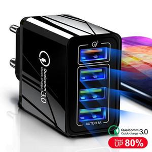 US UK EU-Adapter Schnellladekopf QC3 Multi-Mund 4 USB Fast Charge Charger Mobiltelefon Reiselager 4 USB 12V 9V 5V