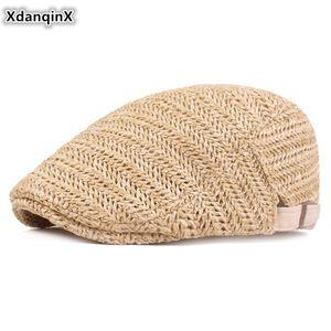 XdanqinX Yenilikçi Hasır Şapka Kadın Nefes Mesh Cap Straw Bereliler Yaz Yeni Marka Şapka Ayarlanabilir Boyut Erkekler Balıkçılık Berets Caps