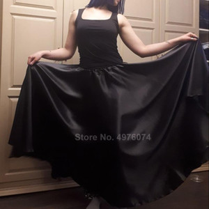 Stage Wear Solid Color Satin Plus Size Belly Dance Skirt For Women Shiny Spanish Flamenco Dancing Costumes Gypsy Girls Smooth 360-720
