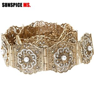 Sunspice-MS Antik Altın Metal Kadın Kemer Zincir Rhinestones Ve Yapay Inci Ile Ayarlamak Uzunluk Kaftan Bel Kemeri Elbise Y200424