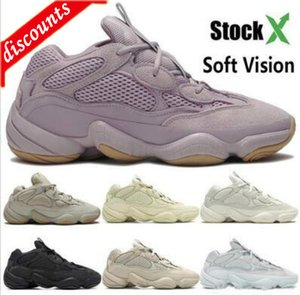 WithBoxSoft Vision stone Desert Rat 500 kanye west running shoe bone white Utility Black super moon yellow men women designer sport trainers
