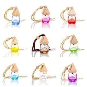 new Car Perfume Bottle Pendant Essential Oil Diffuser 9 Colors Ornaments Air Freshener Pendant Empty Perfume Glass Bottle Gift T2I51665