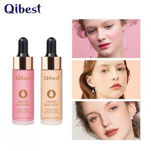 Qibest Лицо Жидкости Blush Blusher 6 Цвета Высококачественный Пигмент Долговечный Натуральный щек Blush Cream Cosmetics
