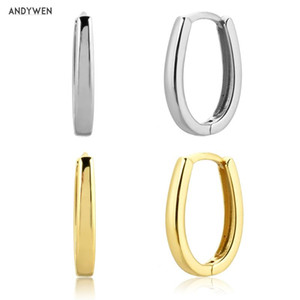 ANDYWEN 925 Sterling Silver Plain Ovals Hoops Piercing 2020 Circle European Female Luxury Fashion Party Jewelry In 2020 Jewelry