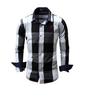 Yeni Avrupa ve Amerikan Erkek Rahat Uzun Kollu Gömlek Erkek Pamuk Ekose Renk Eşleştirme Gömlek 4 Renkler Boyutu M-3XL