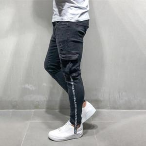 Erkekler Motosiklet Hip hop Streetwear Swag Kot Pantolon için ince Kargo pantolon fermuarı Skinny Jeans Erkekler çok cepli
