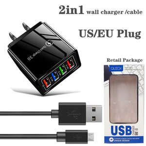 2in1 wall charger and 1M cable 4 port USB Charger Quick Charge qc 3.0 Phone Adapter Wall Mobile Fast Charger EU US Plug 2.1A usb cable