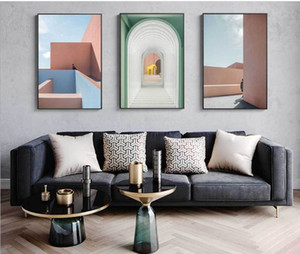 2021 Hot selling modern simple Nordic Style Pink building wall arch art porch light luxury decorative painting core