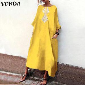 Autumn Women Long Maxi Dress 2020 VONDA Casual Loose Vintage Printed Dresses Sexy O Neck Sleeve Plus Size Vestidos