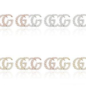 ON54m Brinco Polido Zircon Brilhante Água Pan Crown in-removível brincos para mulheres G carta pérola presente de casamento moda jóias