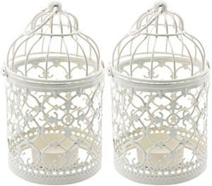 Birdcage Candle Holders Decoration, 2PCS Metal Birdcage Tealight Lanterns, Vintage Candle Stick Holders, Wedding or Home or Table Decoration