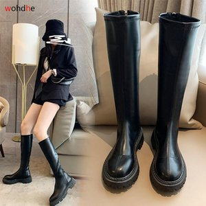 WOHDHE High Quality PU Leather Knee Boots Round Toe Autumn Shoes Thigh Botas Zip Motorcycle Boots Riding Shoes