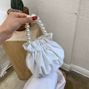 Diseño pequeño pliegue versátil paquete de nube 2020 Corea del ring ring de la moda PearlPearl perla cubo bolsa portátil bolsa de straddle 2wB7n