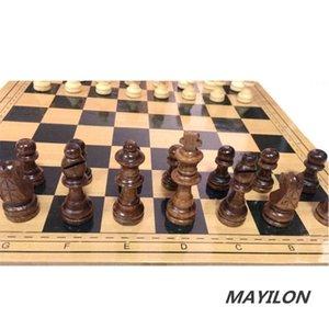Set d'échecs pliants en bois magnétique 30x30cm avec un plateau de jeu feutré intérieur pour le stockage adulte enfants débutant de grande carte d'échecs