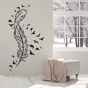 Art Feather Wall Decal Flying Birds Beautiful Door Window Vinyl Stickers Kids Bedroom Living Room Home Decoration Wallpaper