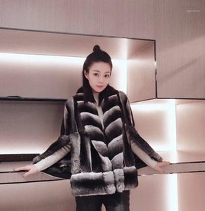 Arlenesain custom 2019 new design real chinchilla fur sleeveless women cloak jacket1