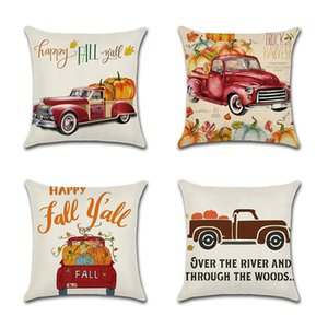 HOT 4PCS Halloween Throw Pillow Covers Pumpkin Castle Bat Theme Sofa Home Decor Cotton Linen Throw Pillow Case Cushion Covers