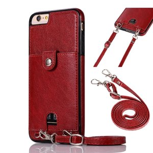 PU Leather Back Case for iPhone SE 2020 11 Pro Max X Xs Max XR X 8 Wallet Card Case With Strap